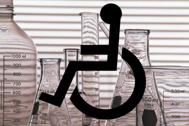 Wheelchair symbol on lab background