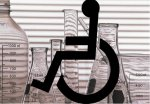 Wheelchair symbol on a lab background